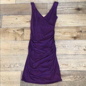 Velvet by Graham & Spencer Ruched Dress Purple SM